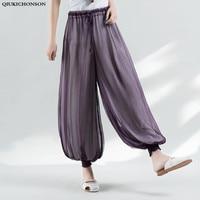 Qiukichonson 2018 Summer pants women casual wide leg pants elastic waist jogger pants ladies trousers polyester silk loose pants