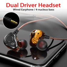 New HIFI Earphones 3D Stereo Dual Driver Earphone DJ Music Wired 3.5mm Headset In Ear Earpiece Sport Strong Bass HIFI Earphones new xduoo ep1 stereo in ear earphone dynamic driver headset noise cancelling headphone hifi subwoofer music mobile earphones