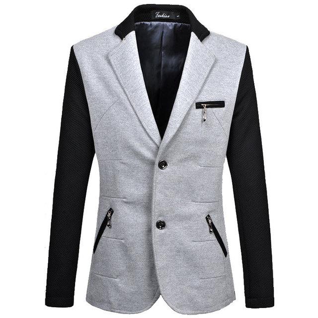 2016 Recién Llegado de Gray Blazer Hombres Otoño Moda Hombre Delgado Fit de Dos Botones de la Chaqueta de Retazos Chaqueta Casual Capa de Los Hombres de Tamaño 6Xl