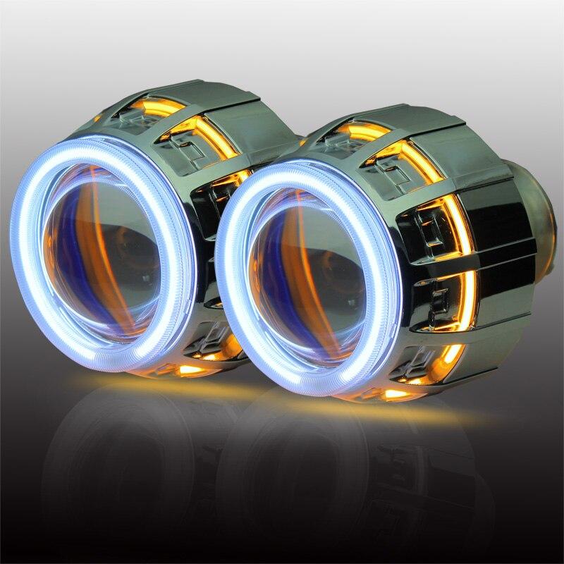 Frete grátis magro 35 W reatores anel Duplo BI lente do projetor xenon CCFL  Anjo com h1 h4 h7 9005 9006 novo HID luz fonte. 83f895f27d