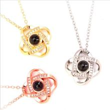 Everoyal Trendy Crystal Clover Pendant Necklace For Women Accessories Vintage Silver 925 Girls Clavicle Necklace Female Jewelry everoyal lady charm crystal flower pendant necklace for women jewelry trendy silver 925 clavicle necklace female accessories hot