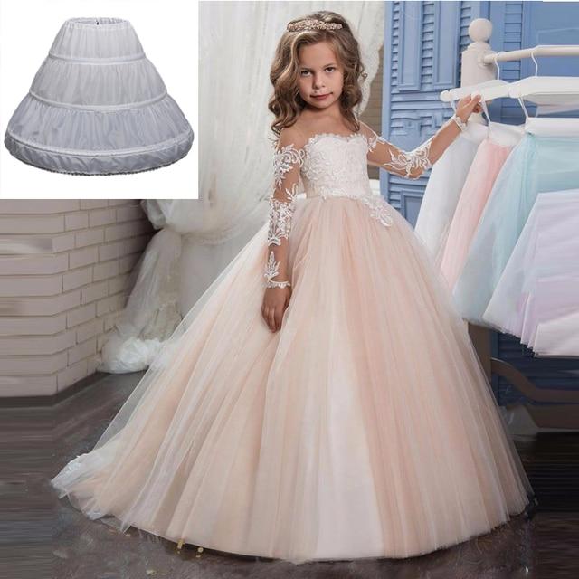 51eda0f3666 Disney Three Circle Hoop Children Kid Dress Slip White Ball Gown Flower  Girl Dress Wedding Accessories Petticoat