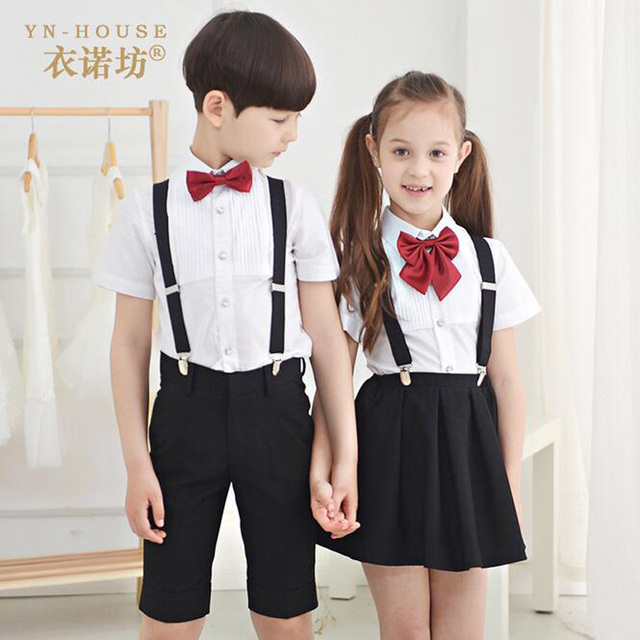 68f024c841a 2017 Summer Boys Girls Shorts Clothing Set Children Formal Clothes Kids  Wedding prom Suits(Shirt+trousers or skirt +Belt+tie)