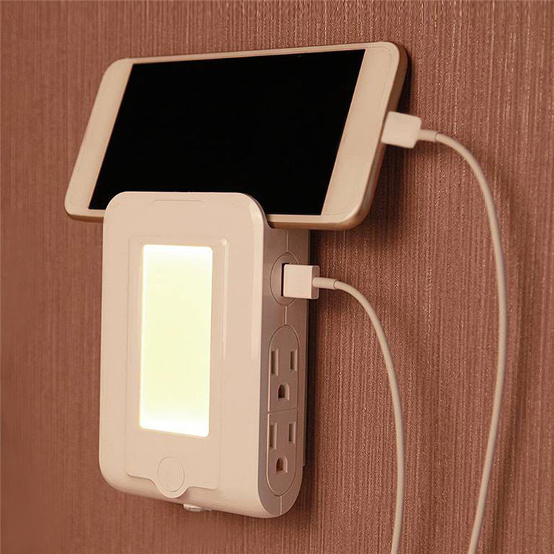 Dual USB Ports LED Charging 4 LED Night Light Dusk to Dawn Lights Control Sensor Wall Lamp Charger For Bedroom Living Room keyshare dual bulb night vision led light kit for remote control drones