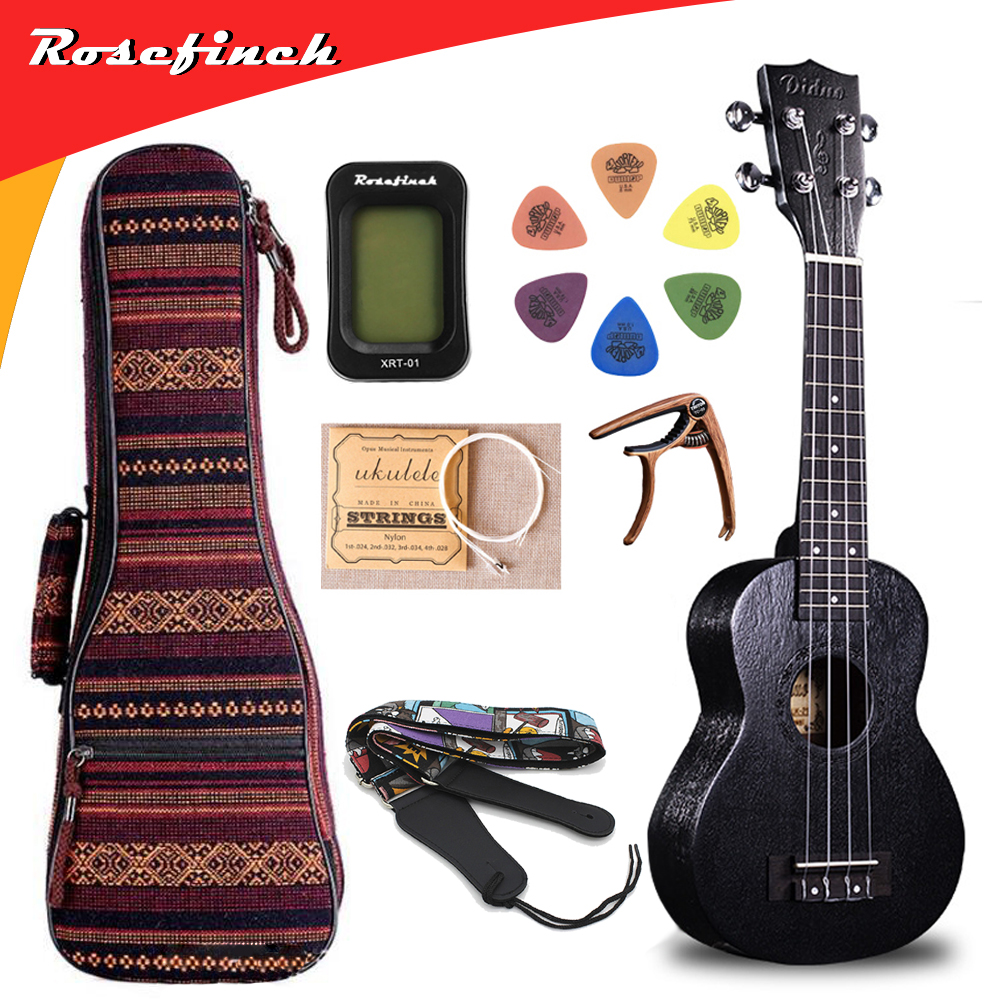 23 inch Black Ukulele Concert Mini Hawaii Guitar Tuner Capo Bag Strings Strap 6 Picks Gift Electric Guitar UKE UK2335B image