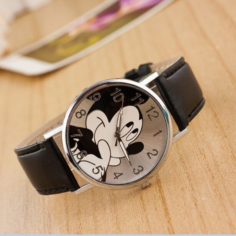 2019 New Brand Cartoon Mickey Women Watch Boy Girl Outdoor Sport Watches Leather Quartz Watches