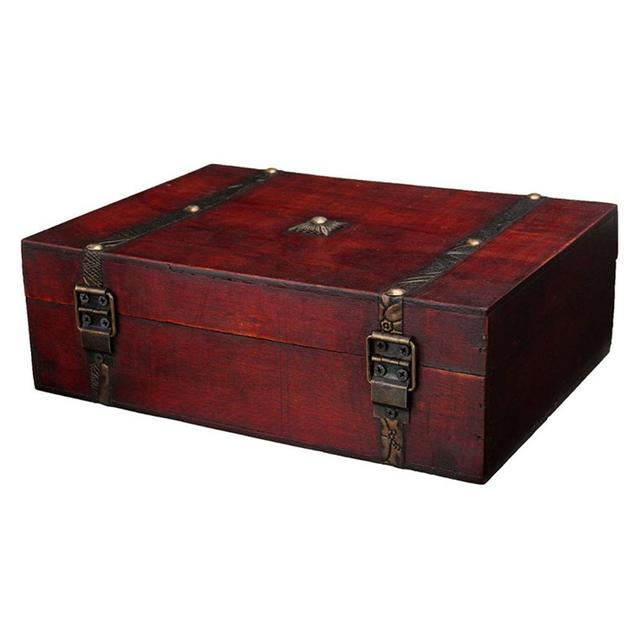 Desktop Storage Box Antique Wooden Household Register Credential Jewelry Tool Gift wooden box for essential oils cases