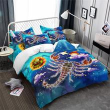 Colorful Scorpio Constellation Bedding Set Kids Cartoon Duvet Cover Dreamlike Galaxy Princess Bedclothes Pillowcase
