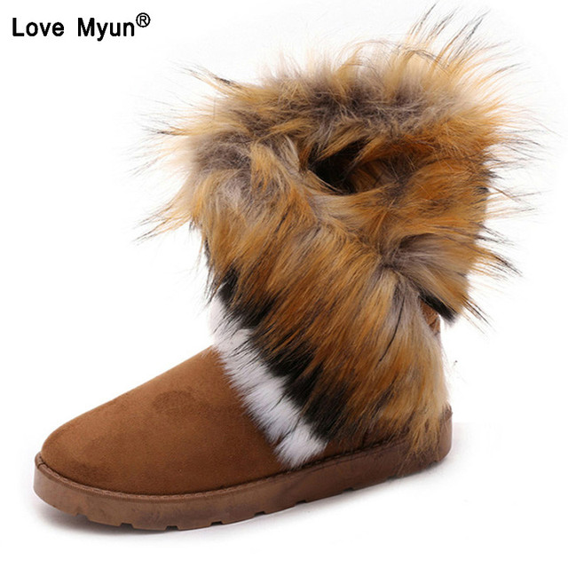Ladies Faux Fur Warm Flat Shoes Tassels Edging Footwear Suede Women Snow  Boots Sewing Slip-On Mid Calf Winter Boots569 38707d3f64