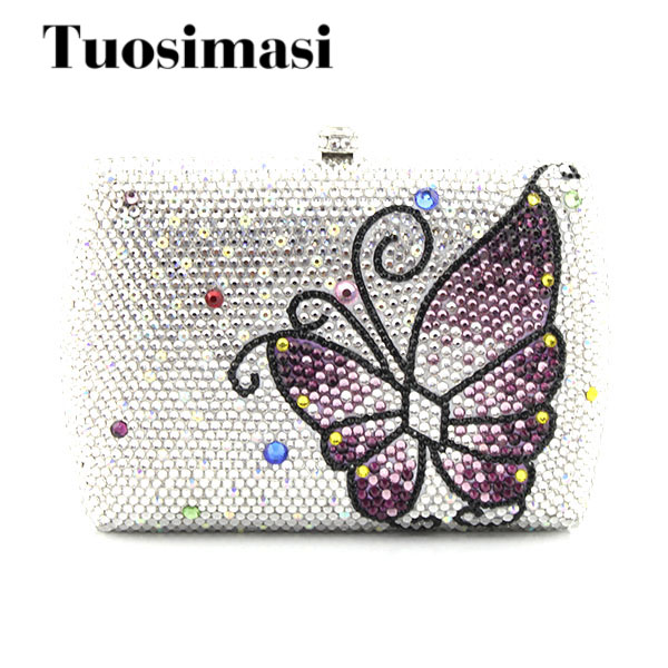 Fashion Purple butterfly Pattern Newest white flower Crystal clutch purses Ladies Prom Bag Party Clutch Evening bag(1015WB) aidocrystal sexy ladies black crystal purses crystal flower pattern clutch evening bag