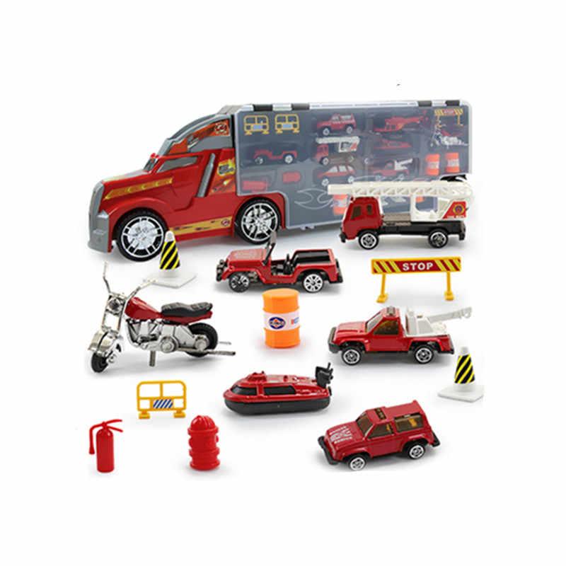 """22 в 1 детский игрушечный набор """"пожарная машина"""" Diecasts and Toy Vehicles развивающие 1:24 транспорт машинки Перевозчик игрушка для детей Мальчики"""