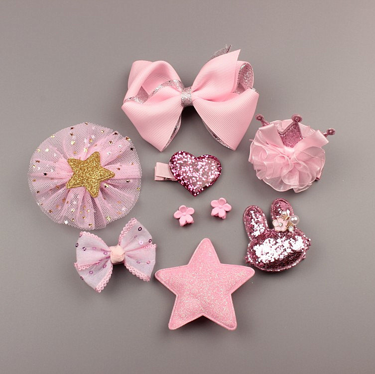 Children Girls Fashion Cute Floral Bow Type Handmade Hairpins Princess Barrettes Hair Accessories 10pcs Set Gift
