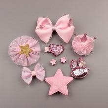 Children Girls Fashion Cute Floral Bow Type Handmade Hairpins Princess Barrettes Hair Accessories 10pcs/Set Gift Box Packing