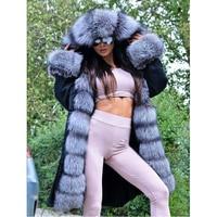 FURSARCAR Fashion New Real Fur Parka Women Thick Luxury Silver Fur Collar Jacket Winter Fur Female Black Parkas Plus Size 2018