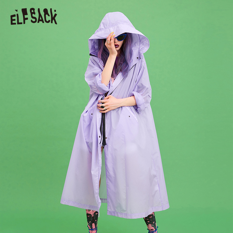 ELF SACK Lavender Women Sun-Protective   Trench   2019 Summer Casual Hooded Outwear Female Fashion Korean Solid Coat Clothing