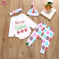 Christmas Gift Newborn Infant Baby Boy Girl Letter Romper Tops Pants Hat Christmas Outfits Set Merry