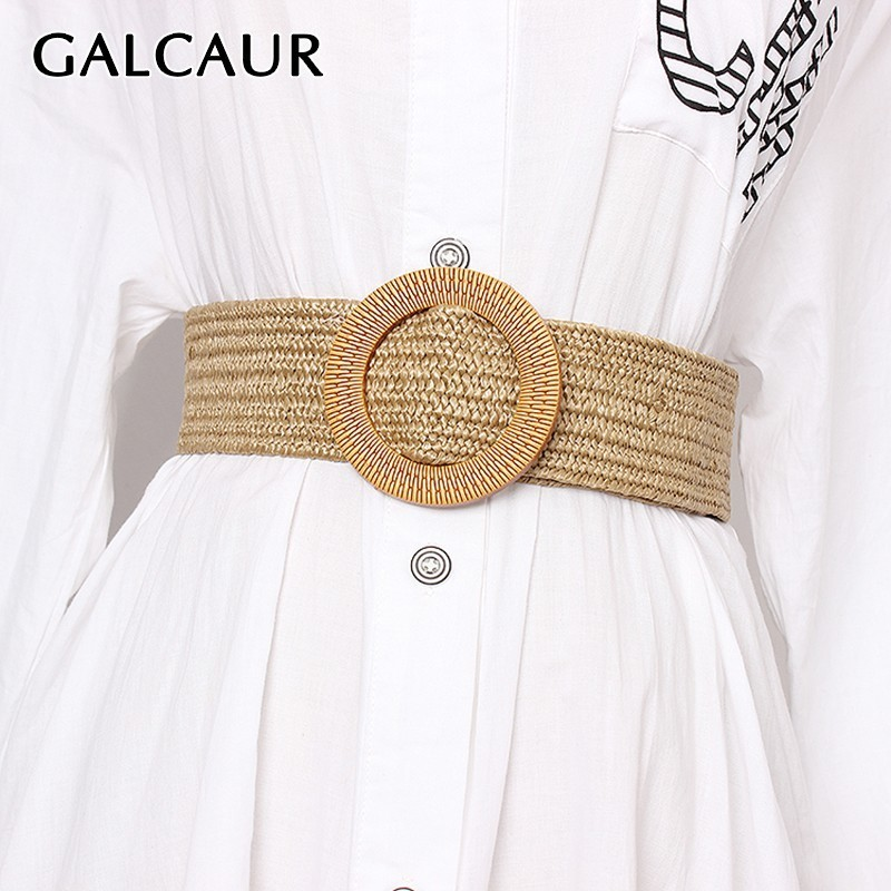 GALCAUR Accessories Striped Linen Belt For Women Vintage Dresses Lage SizeBelts Female Fashion  Elegant Tide Summer 2020
