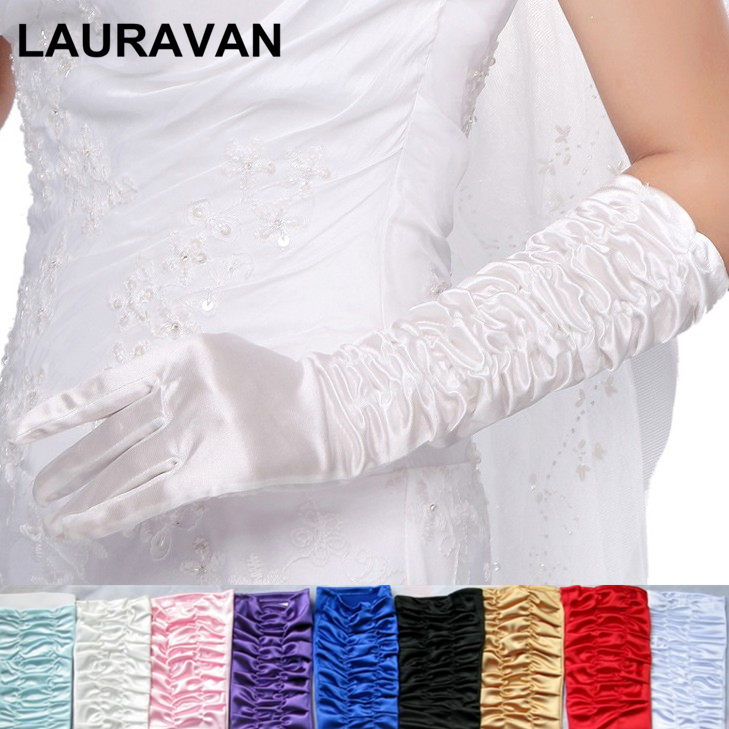 Red Black Pink Blue Purple Long Satin Elegant For Bride Bridal Wedding Gloves 2019 Women Finger Gants Mariage Luvas De Noiva