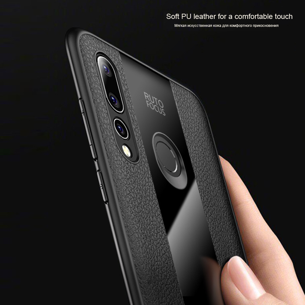 Phone Protective Case for Huawei P Smart 2019 Cover Luxury PU Leather Black Glass Case for Huawei P20 Pro P9 lite 2017 Nova 4 3i in Fitted Cases from Cellphones Telecommunications