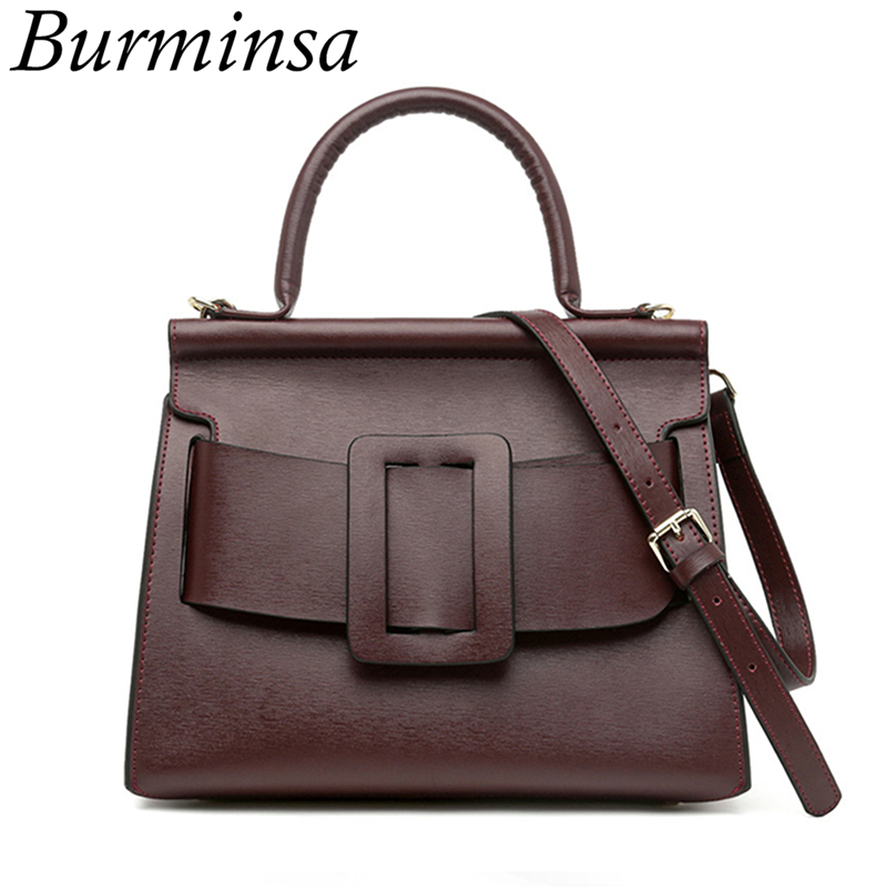 Burminsa Real Genuine Leather Bags Designer Handbags High Quality Tote Shoulder Bags Famous Brand Crossbody Women Messenger Bags
