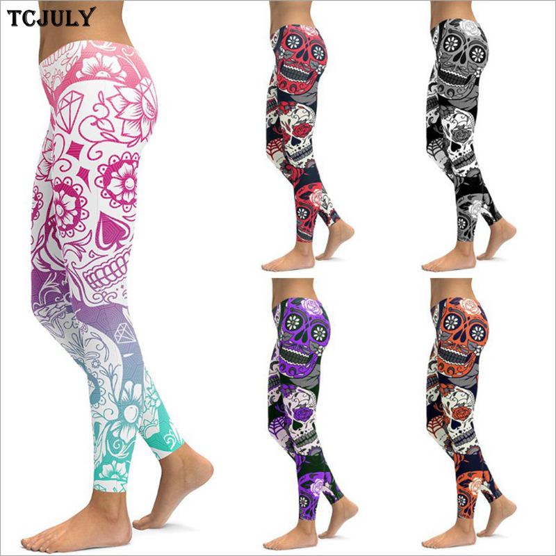 TCJULY Wholesale Fashionable 27 Colors Print   Leggings   For Women Skinny Stretch Push Up Pants Quick Dry Plus Size Fitness   Legging