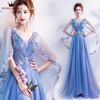 QUEEN BRIDAL Evening Dresses A line V neck Flowers Beading Elegnat Long Formal Evening Gown Robe De Soiree Vestido De Festa LS27