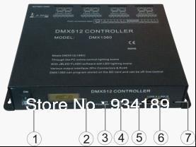 Free shipping DMX RGB CONTROLLER , MASTER CONTROLLER, SD CARD CONTROL&REMOTE CONTOL 8 Channels  Input AC110-240V 220V   DMX1360
