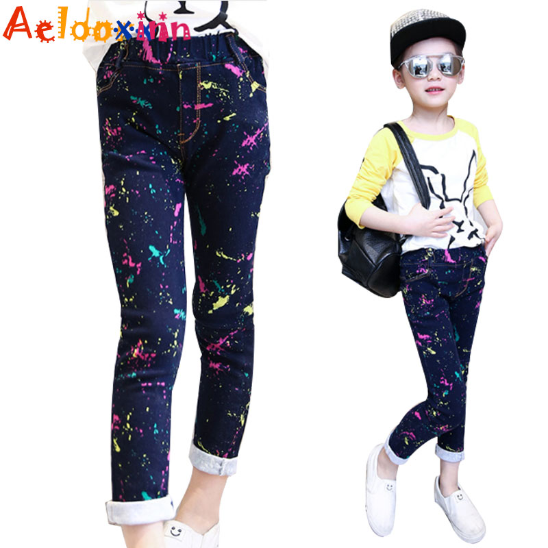 Girls Jeans Brand Spring Children Denim Pants for Girls Fashion Casual Kids Clothing for Girls Cartoon Cute Jeans for Girls 3-12 girls jeans kids denim pants pencil cotton khaki camouflage mid waist casual children jeans for girls size 9 10 11 12 13 14 year