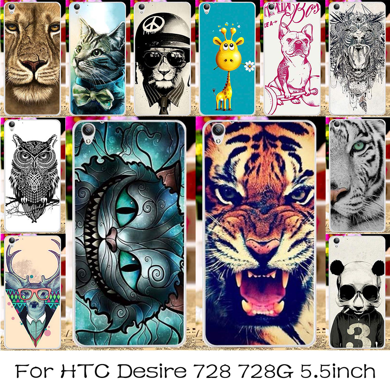TAOYUNXI Silicone Plastic Phone Case For HTC Desire 728 728G Dual Sim D728T D728W Cover For HTC Desire 728 Cat Tiger Animal Bag