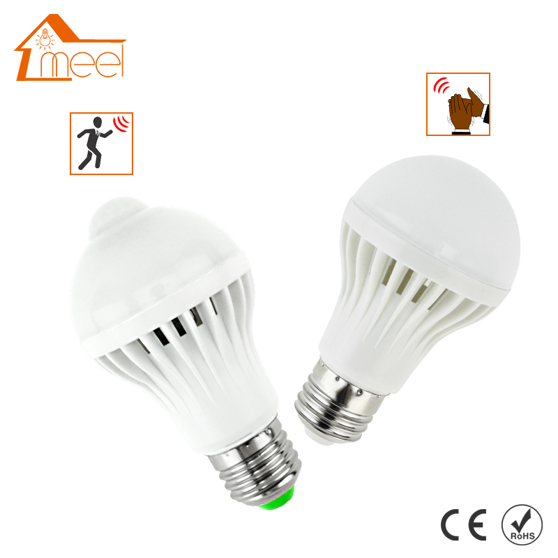 LED PIR Motion Sensor Bulb 5W 7W 9W 12W E27 220V + Led Bulb Sound Sensor 3W 5W 7W Auto Smart Bulb Infrared Body Lamp Light sensor light e27 led bulb 5w 25pcs 3528smd infrared pir motion sensor detector led lamp white warm white lighting ac220 240v