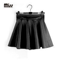 MISS 2016 4 Sizes High Waist Faux Leather Black Pleated Skirt Women Short Sexy Mini PU
