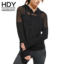 HDY Haoduoyi 2017 Summer Women Fashion Pockets Solid Mesh Hoodie Perspective Casual Long Sleeve Patchwork Draw Cord Sweatshirt