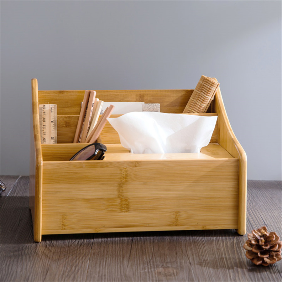 Wood Tissue Case Box Holder Home Desktop Table Remote Control Stationary Phone Storage Boxes Divider Container DDP121