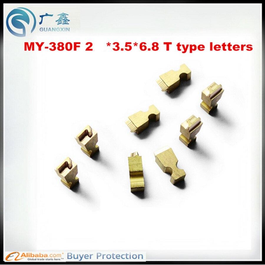 Darmowa wysyłka 2*3.5*6.8MM typu T tłoczone na gorąco litery MY-300 maszyna do kodowania tłoczenie liter, miedzi litery do tłoczenia