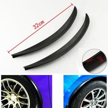 2pcs Universal Car Truck Carbon Fiber Rubber Wheel Eyebrow Protector Guard Lip Sticker Trim Fender Flare Anti-scratch Black image