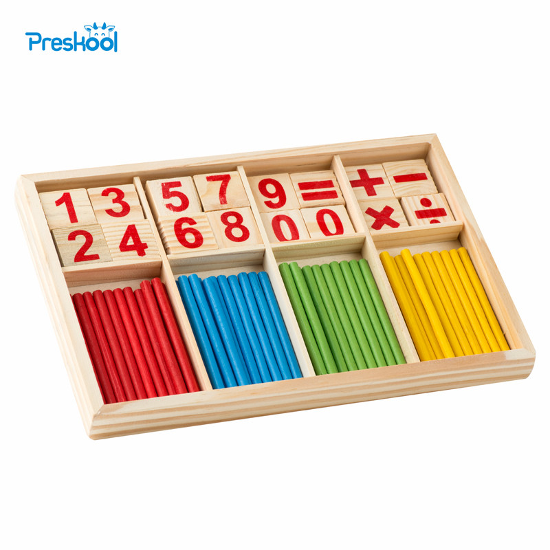 Montessori Número de madera juego de matemáticas Palos Box juguete educativo puzzle teaching AIDS materiales Set