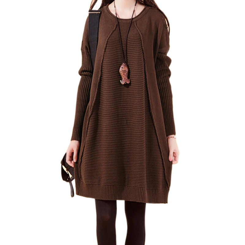 New Autumn Winter Loose Long Knitted Dresses Women Long Sleeve Plus Size Sweater Dress Female Vestidos Robe Femme ZA332
