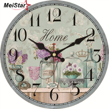 MEISTAR Vintage Flower Vase Design Large Clocks Silent Home Office Cafe Watches Decor For Kitchen Room  Round Balcony Wall Clock стоимость