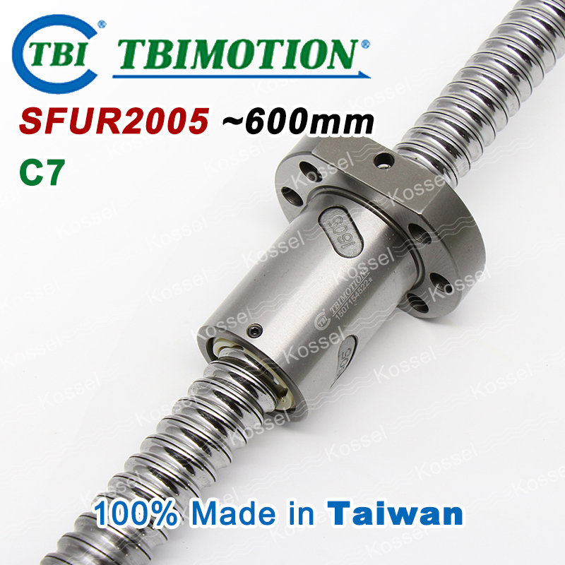 TBI 2005 C7 600mm ball screw with SFU2005  5mm lead screws nut of SFU set end machined for high precision CNC kit tbi sfu 1605 c3 350mm ball screw 5mm lead with sfu1605 ballnut end machined for high precision cnc diy kit sfu set