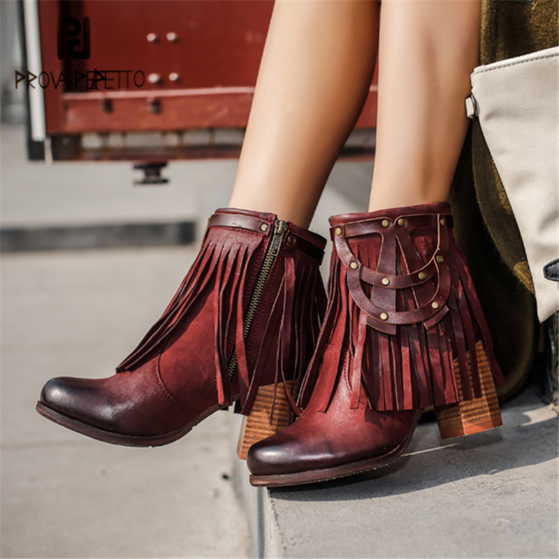Prova Perfetto Full Fringed Ankle Boots for Women Chunky High Heel Shoes Woman Genuine Leather Botas Mujer Tassels Women Pumps prova perfetto hollow out women ankle boots sexy chunky high heel boots genuine leather straps platform botas mujer women pumps