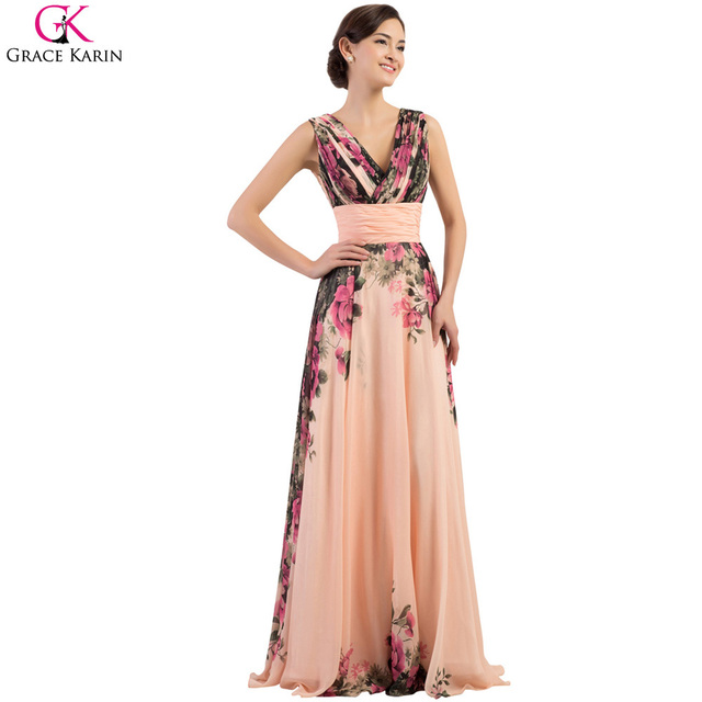 Plus Size Evening Dresses Grace Karin Lace Up Chiffon V Neck Tank Flower  Pattern Print Elegant Formal Gowns Evening Party Dress a1cad903f47c