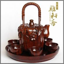 Wood carving teapot teacup full set of rosewood handicrafts tea tea set tea pot