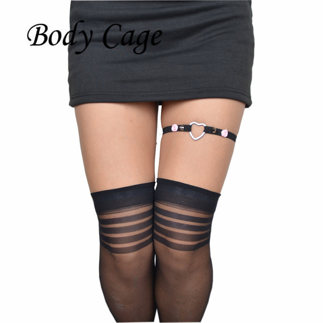 bf3e5d0ddad Body Cage 1pc Sexy Women Fashion goth dress Harajuku Single Strap Punk  Suspender Hook Leg Cage Handmade Sock Garter Belt Harness