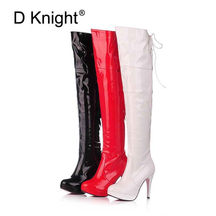 где купить Fashion Japanned Leather Side Zip Back Lace Up Platform High Heels Over The Knee Boots Sexy Steel Pipe Dance Boots Plus Size 43 по лучшей цене