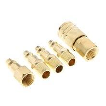 5 pçs conjunto de acoplador rápido de bronze sólido mangueira ar conector acessórios 1/4 polegada ferramenta