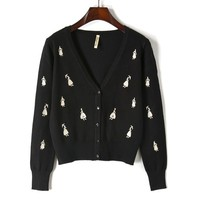 The new embroidery dancing girl sweater lady's female tops 80323 V collar knitting cardigan joker