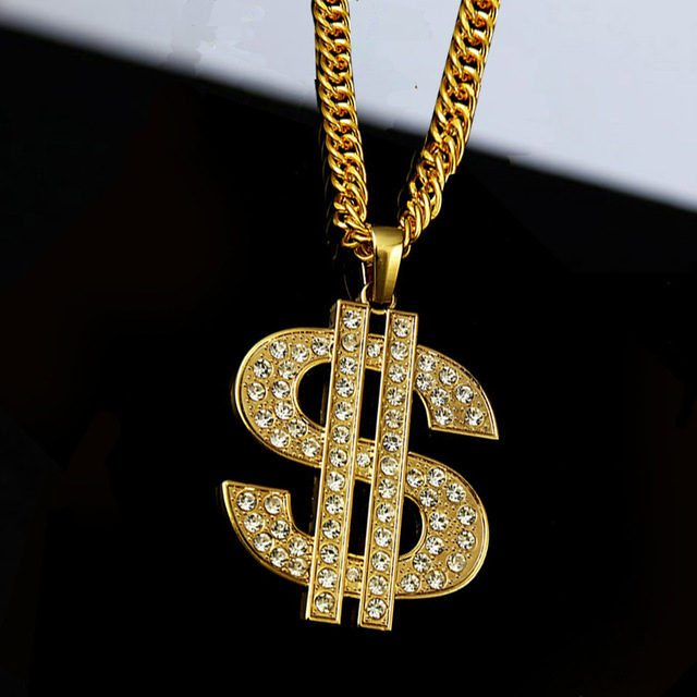 High-quality Gold Plated New US Dollar Crystal Pendant Necklace letter Hip hop Long chain Necklace 80CM chain