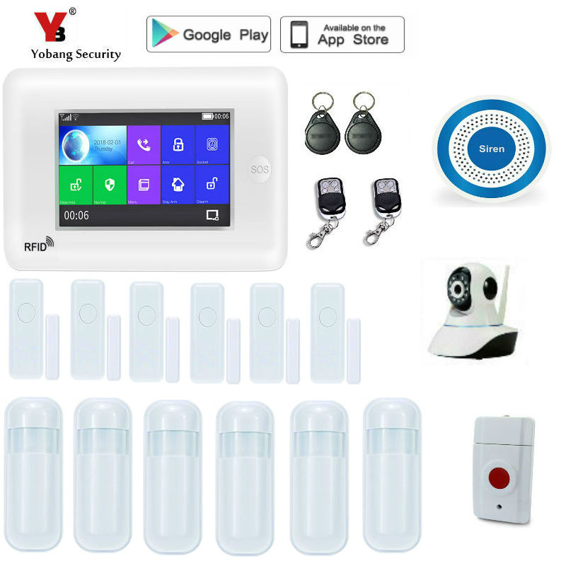 YoBang Security Wireless WiFi GSM Alarm System Android ios APP Control home Security Alarm System with PIR motion sensor IP Cam marlboze wireless home security gsm wifi gprs alarm system ios android app remote control rfid card pir sensor door sensor kit
