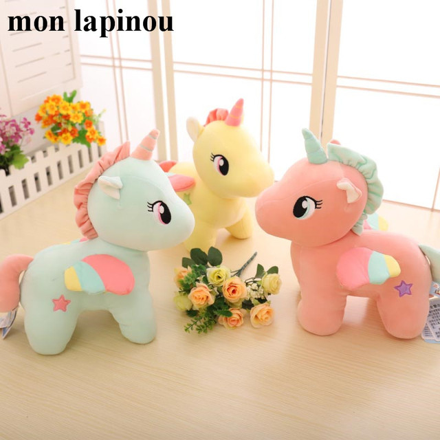 Unicorn Plush Toys Very Soft Pink Yellow Little Horse With Color