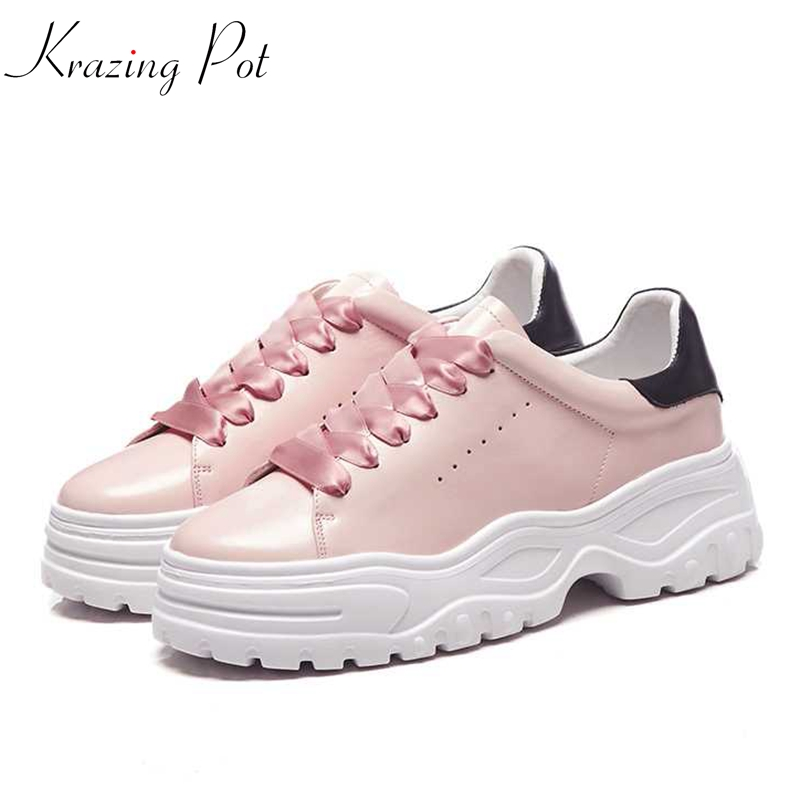 Krazing Pot 2018 natural leather shoes women round toe sole sneaker lace up European breathable mixed color vulcanized shoes L87